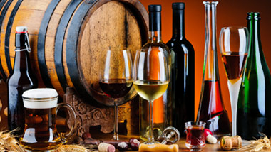 Bottles of beer, glasses of wine